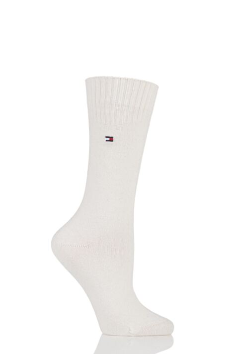 Ladies 1 Pair Tommy Hilfiger Plain Diamond Top Cashmere Socks Product Image