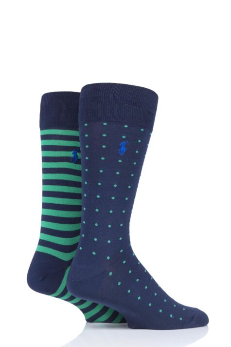 Mens 2 Pair Ralph Lauren Dot and Stripe Cotton Socks Product Image