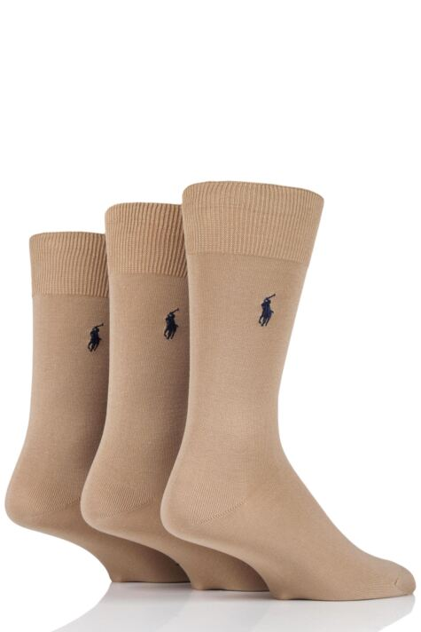 Mens 3 Pair Ralph Lauren Mercerized Cotton Flat Knit Plain Socks Product Image