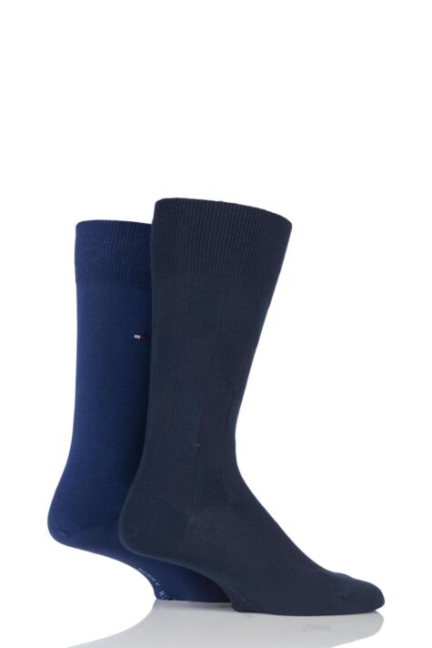 Mens 2 Pair Tommy Hilfiger Shadow Cubes Cotton Socks Product Image