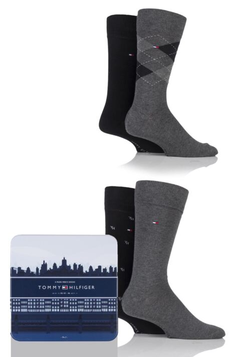 Mens 4 Pair Tommy Hilfiger Gift Box Tinned Cotton Argyle Plain and Spot Socks Product Image