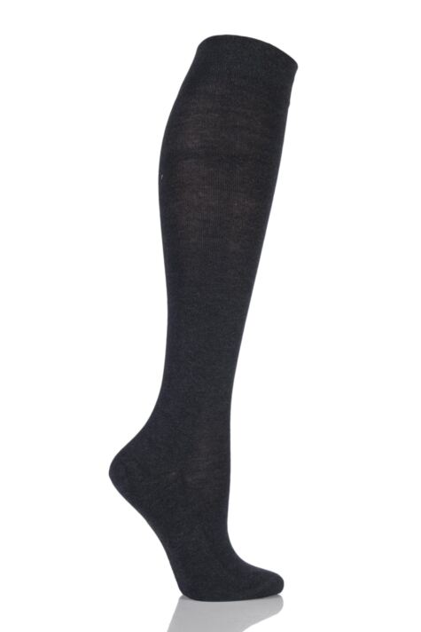 Ladies 1 Pair Falke Sensitive London Left and Right Comfort Cuff Cotton Knee High Socks Product Image