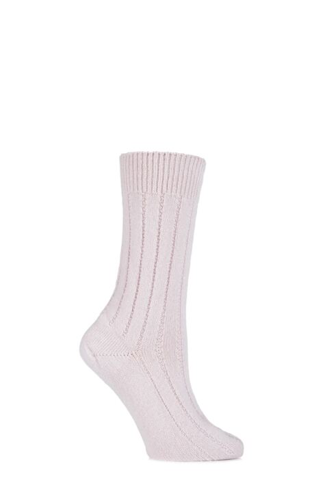 Ladies 1 Pair SockShop of London 100% Cashmere Tuckstitch Bed Socks with Smooth Toe Seams Product Image