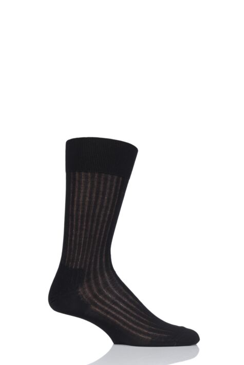 Mens 1 Pair BOSS George Ribbed Mercerised Cotton Socks Product Image