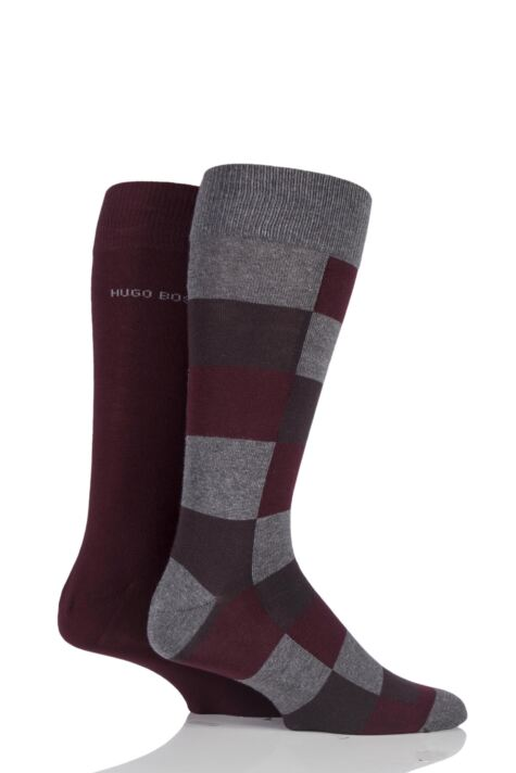 Mens 2 Pair BOSS Plain and Check 75% Cotton Socks Product Image