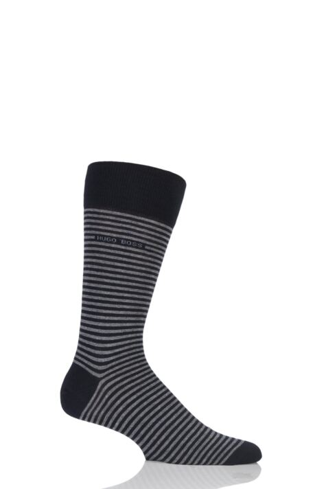 Mens 1 Pair BOSS Marc Striped Combed Cotton Socks Product Image