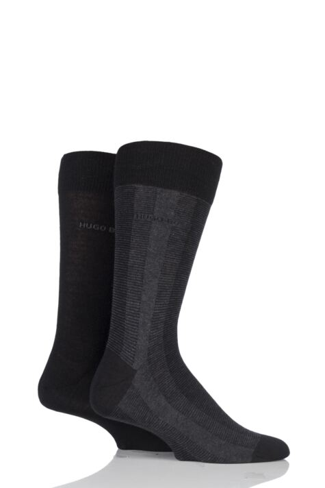 Mens 2 Pair BOSS Plain and Vertical Stripe Wool and Cotton Socks Product Image