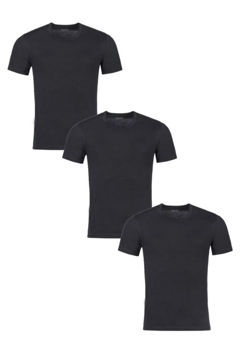 Mens 3 Pack BOSS Plain Cotton Stretch Round Neck T-Shirts Product Image