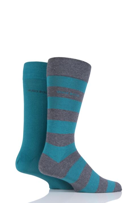 Mens 2 Pair BOSS RS Design Plain and Stripe Combed Cotton Socks Product Image