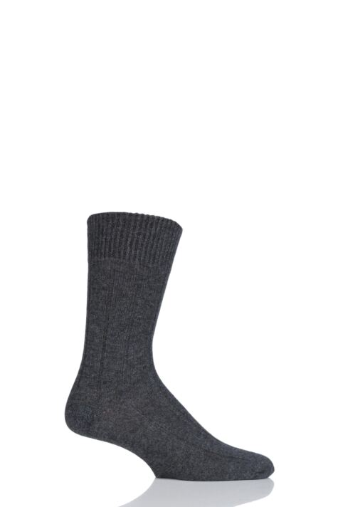 Mens 1 Pair SockShop of London 100% Cashmere Ribbed Socks Product Image