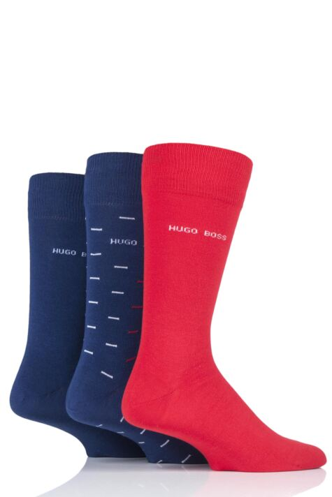 Mens 3 Pair Hugo Boss RS Combed Cotton Gift Boxed Socks Product Image