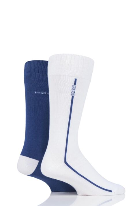 Mens 2 Pair BOSS Logo Stripe Combed Cotton Socks Product Image