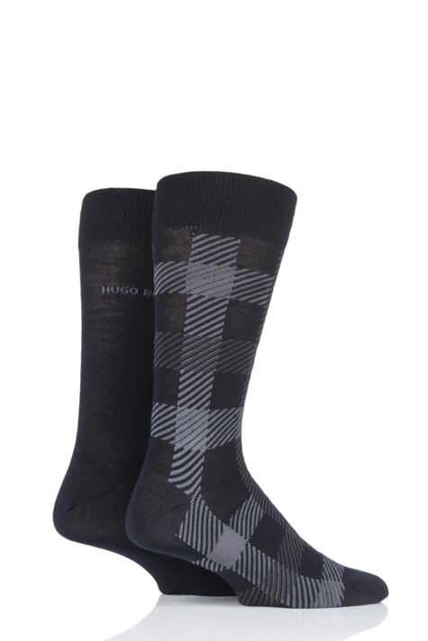Mens 2 Pair BOSS Plain and Check Wool Socks Product Image