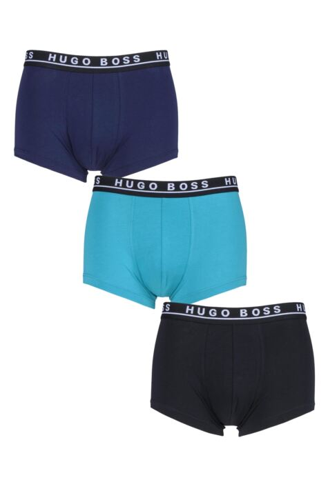 Mens 3 Pack BOSS Plain Cotton Stretch Trunks Product Image
