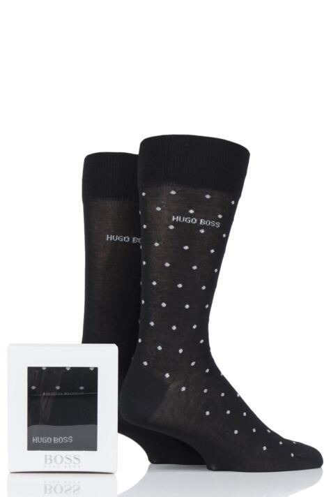 Mens 2 Pair BOSS Mercerized Cotton Gift Boxed Socks Product Image