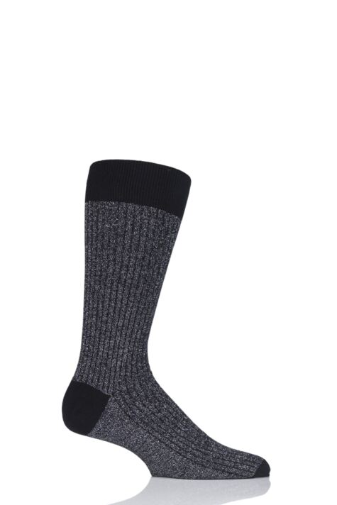 Mens 1 Pair Pantherella Scala Cashmere Blend Sparkle Ribbed Socks Product Image