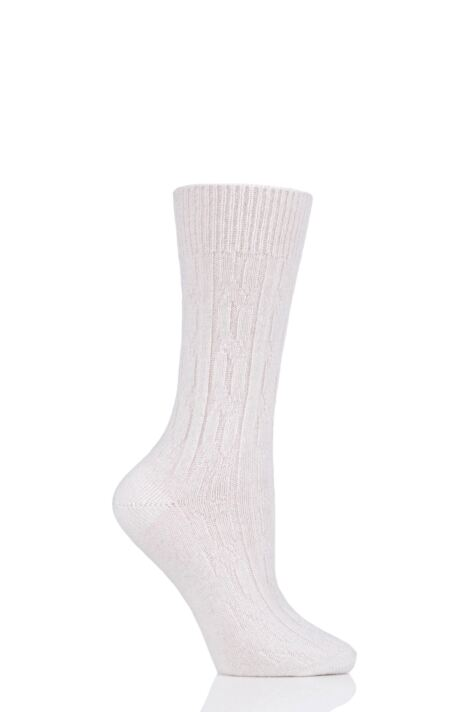 Ladies 1 Pair SOCKSHOP of London 100% Cashmere Cable Knit Bed Socks Product Image