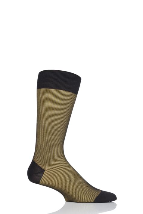 Mens 1 Pair Pantherella Santos Shadow Rib Cotton Lisle Socks Product Image