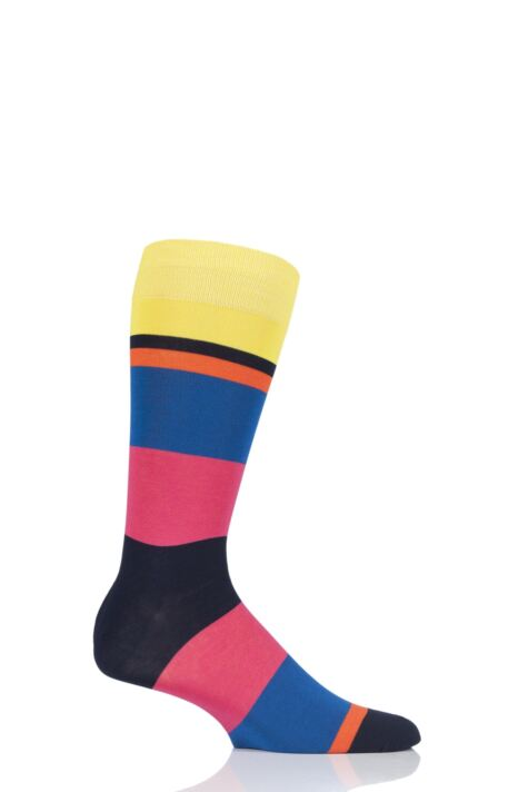 Mens 1 Pair Richard James Miramar Mirrored Block Stripe Cotton Socks Product Image