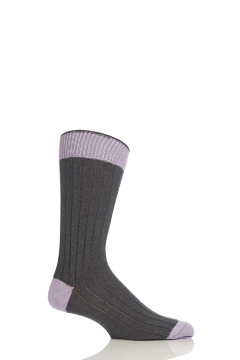 Mens 1 Pair Pantherella Soft Cotton Leisure Socks With Contrast Heel and Toe Product Image