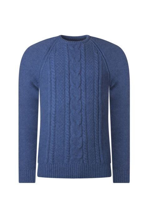 Mens Great & British Knitwear 100% Lambswool Chunky Cable Knit Crew Neck Jumper Product Image