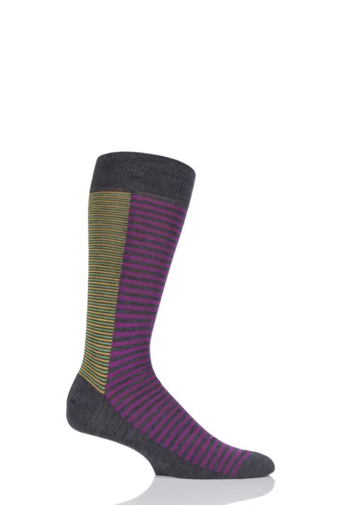 Mens 1 Pair Richard James Forain Split Stripe Merino Wool Socks Product Image