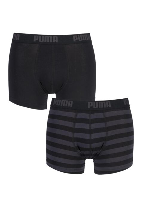 Mens 2 Pair Puma Plain and Striped Cotton Boxer Shorts Product Image