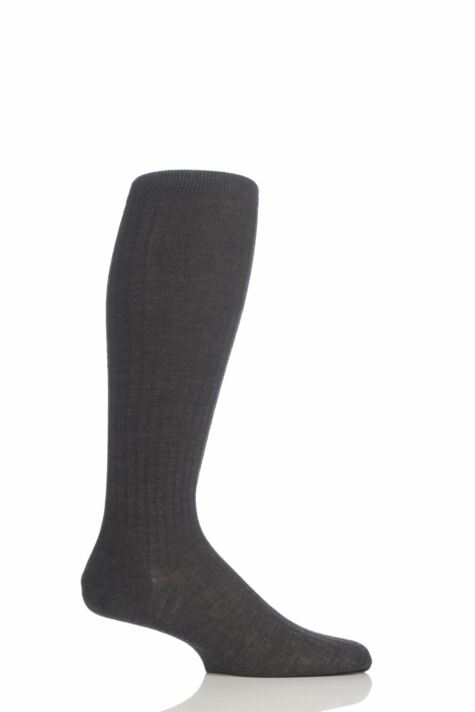 Mens 1 Pair Pantherella Rib Cotton Lisle Knee High Socks Product Image