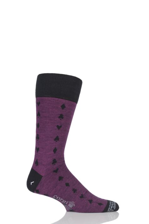 Mens 1 Pair Corgi Lightweight Wool Spades, Clubs, Diamonds and Hearts Socks Product Image