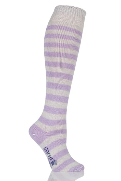 Ladies 1 Pair Corgi Cashmere Cotton Striped Knee High Socks Product Image
