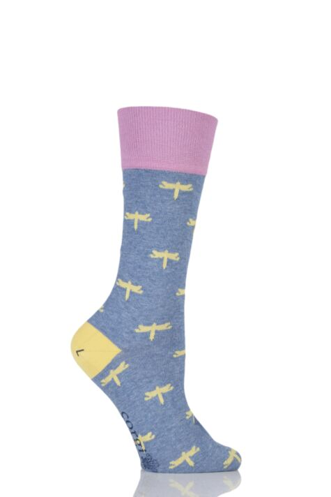 Ladies 1 Pair Corgi Fine Gauge Cotton Dragonfly Patterned Socks Product Image