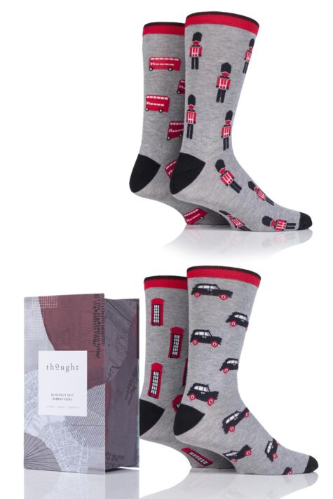 Mens 4 Pair Thought City Series Bamboo and Organic Cotton Socks in Gift Box Product Image
