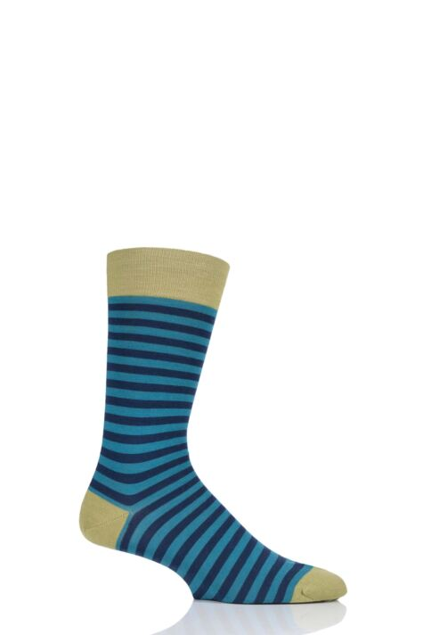 Mens 1 Pair Pantherella Harrow Stripe with Contrast Heel and Toe Merino Wool Socks Product Image