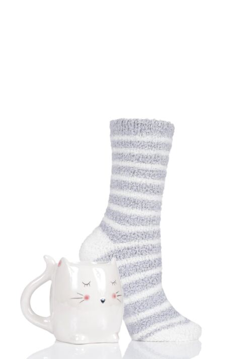 Ladies Totes Fluffy Animal Socks and Mug Gift Set Product Image