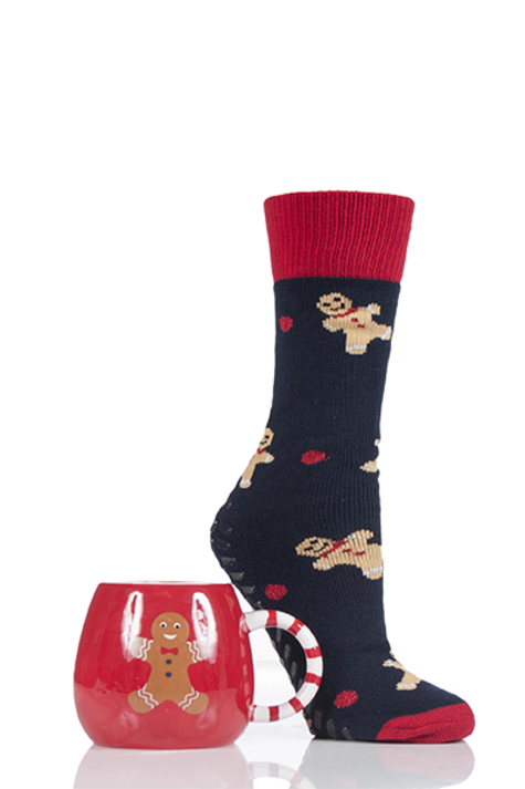 Totes Super Soft Slipper Socks with Mug Gingerbread Man Product Image