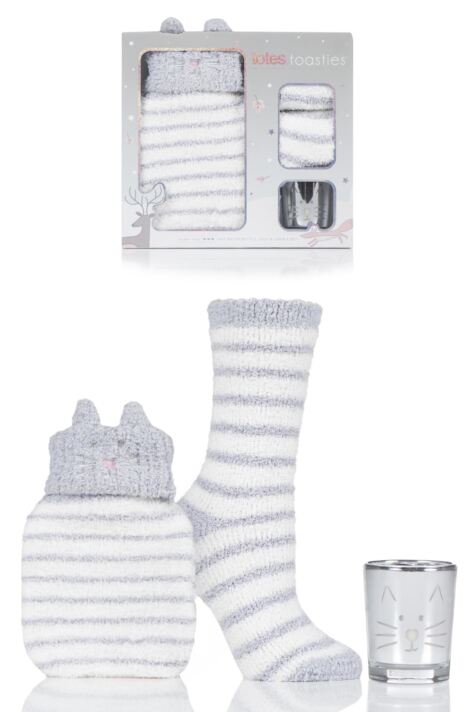 Ladies 1 Pair Totes Super Soft Bed Socks with Hot Water Bottle and Candle Gift Set Product Image