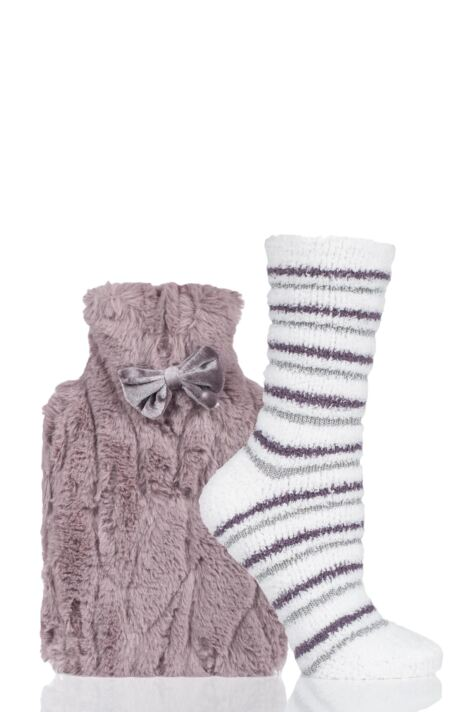 Ladies Totes Furry Hot Water Bottle and Socks Set Product Image