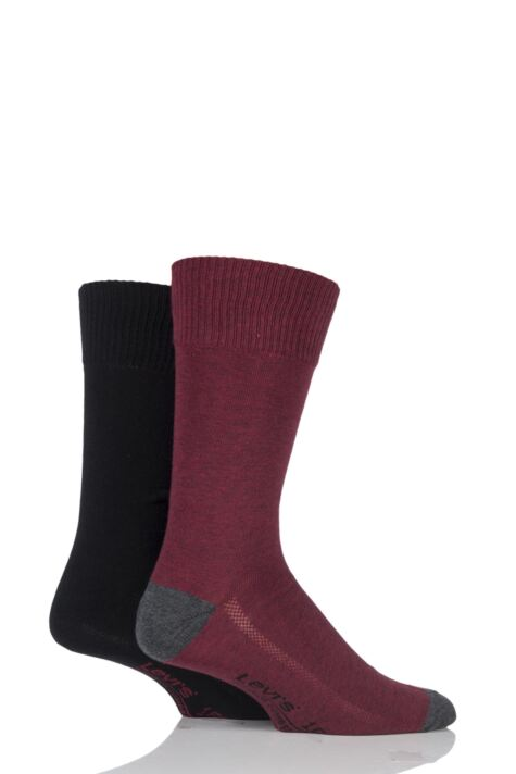 Mens 2 Pair Levis 168SF Plain Cotton Comfort Top Socks Product Image