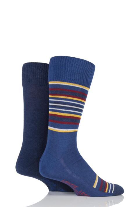 Mens 2 Pair Levis 168SF Comfort Top Blanket Striped Cotton Socks Product Image