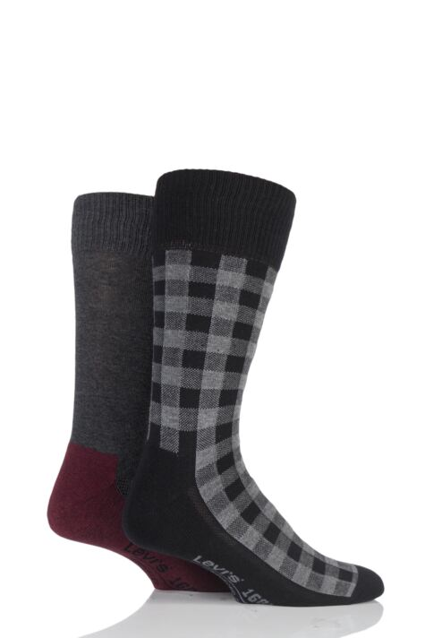 Mens 2 Pair Levis 168LS Graphic Check Cushioned Crew Socks Product Image