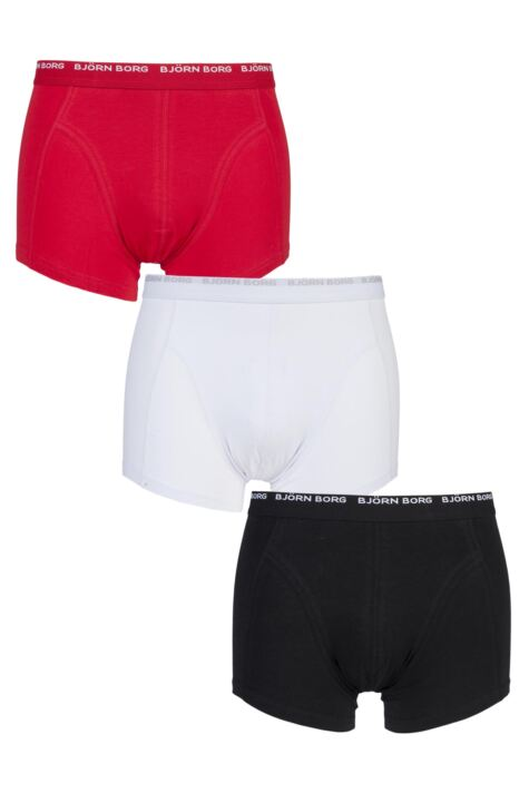 Mens 3 Pack Bjorn Borg Basic Cotton Short Shorts In Black White and Red Product Image