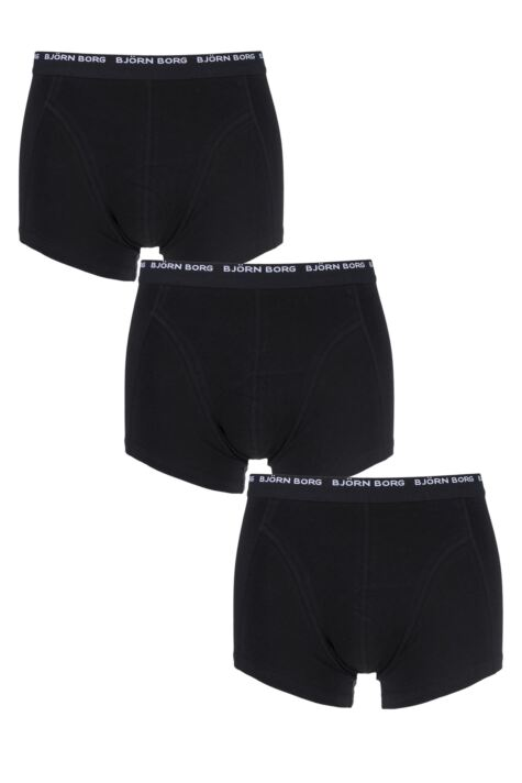 Mens 3 Pack Bjorn Borg Basic Cotton Short Shorts In Black Product Image
