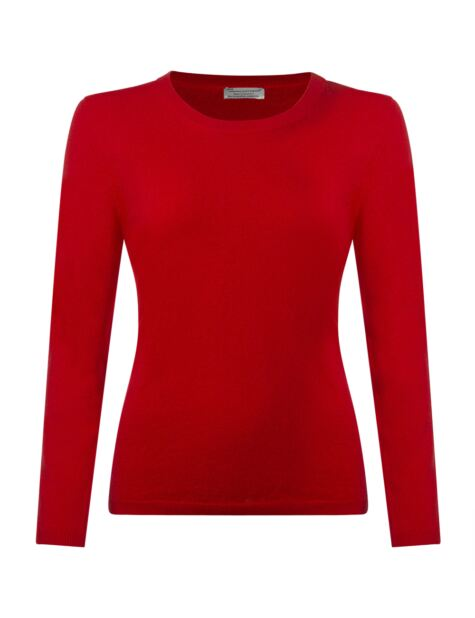 Ladies Great & British Knitwear 100% Extrafine Lambswool Round Neck Jumper Product Image