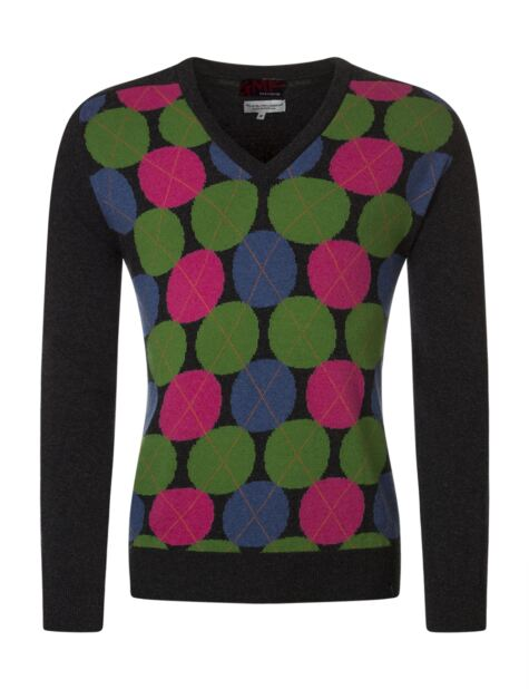 Mens Great & British Knitwear 100% Extrafine Lambswool Spot Argyle V Neck Fitted Sweater Product Image