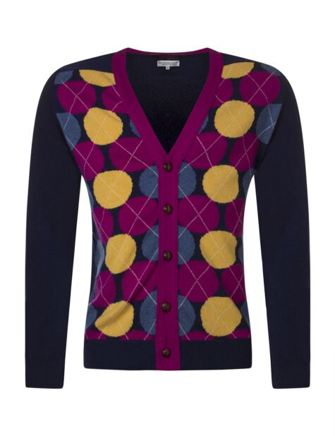 Mens Great & British Knitwear 100% Extrafine Lambswool Spot Argyle V Neck Fitted Cardigan Product Image
