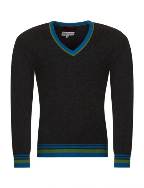 Mens Great & British Knitwear 100% Extrafine Lambswool 2 Colour Tipping V Neck Fitted Sweater Product Image