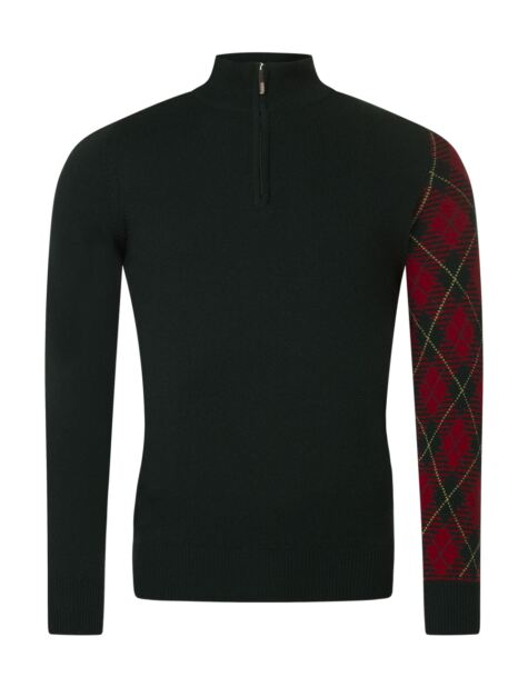 Mens Great & British Knitwear Scotland 100% Lambswool Tartan Sleeve Zip Thru Sweater Product Image