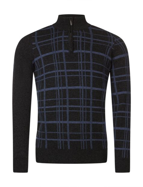 Mens Great & British Knitwear Scotland 100% Lambswool Grid Zip Through Cl Fit Sweater Product Image