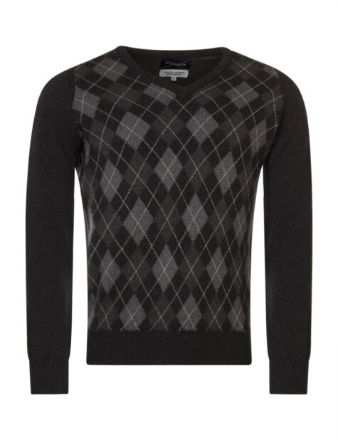 Mens Great & British Knitwear Scotland Touch Of Cashmere Argyle V Neck Classic Fit Sweater Product Image
