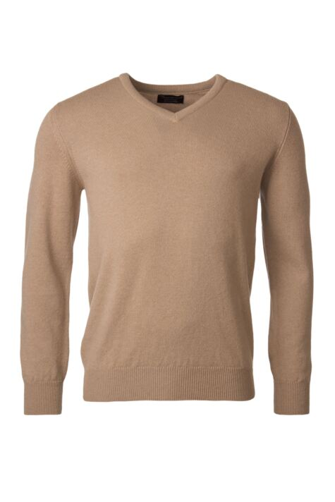 Mens Great & British Knitwear 100% Lambswool Plain V Neck Jumper Browns and Greens Product Image